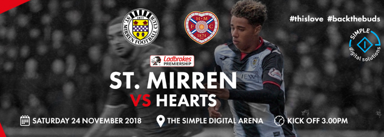 St Mirren vs Hearts: Matchday Info (24th Nov)