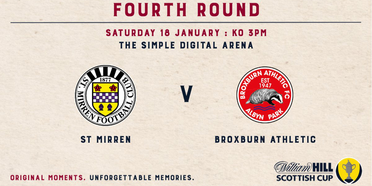 Matchday Info: St Mirren v Broxburn Athletic (18th Jan)